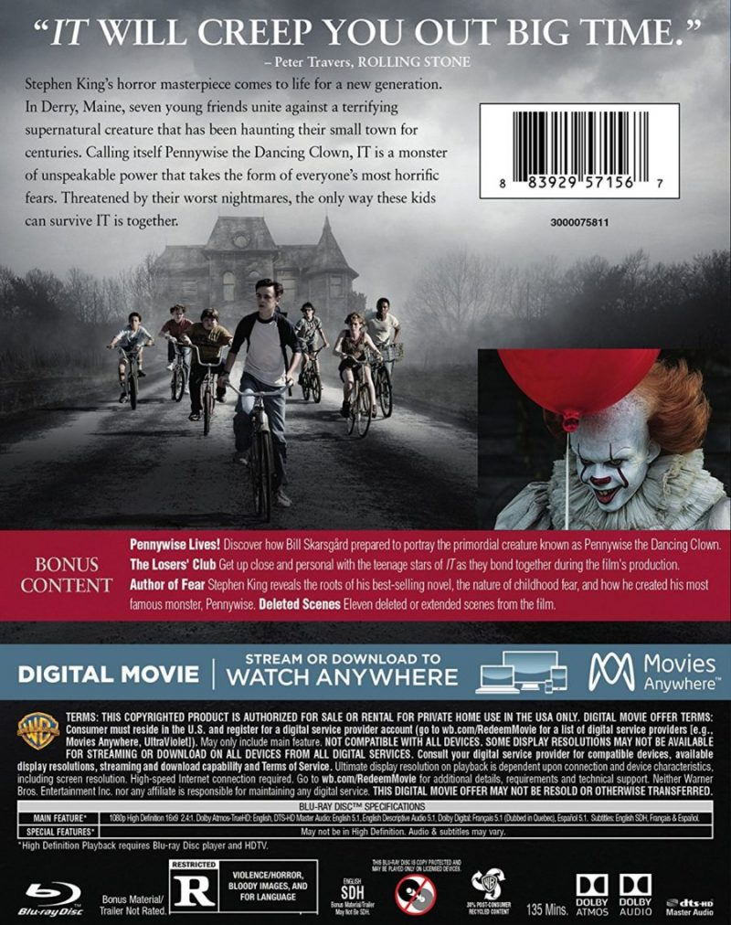 It Movie 4K HD / Blu-Ray / DVD Release Cover
