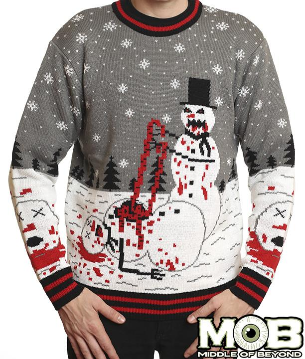 middle of beyond horror christmas sweaters