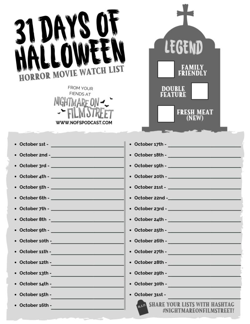 31 Days of Halloween horror movie list blank printable