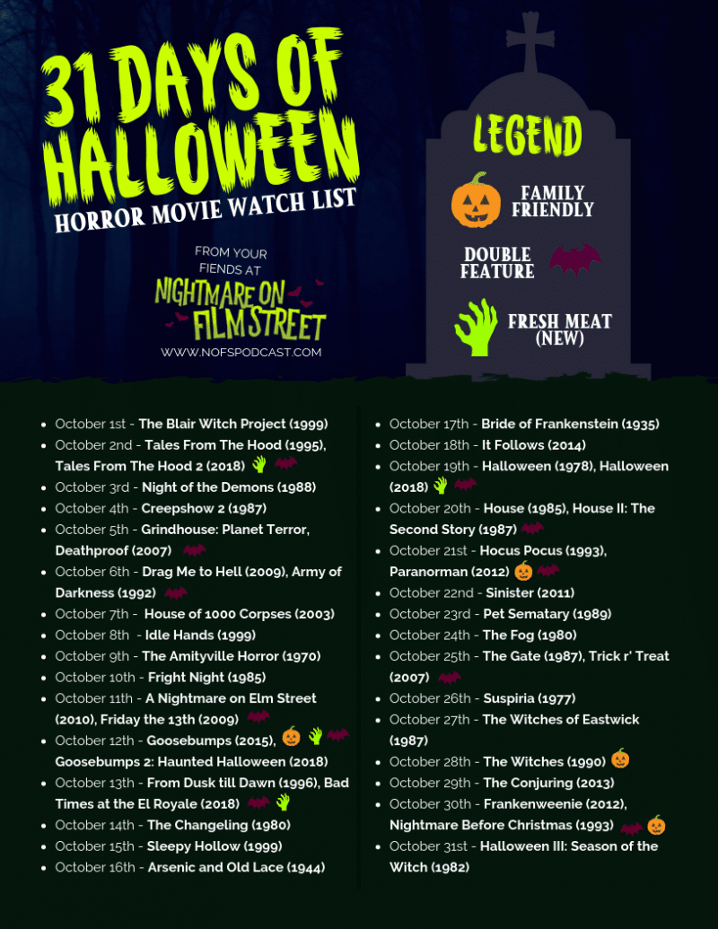 31 days of halloween 2018 horror movie marathon list printable nightmare on film street. Black Bedroom Furniture Sets. Home Design Ideas