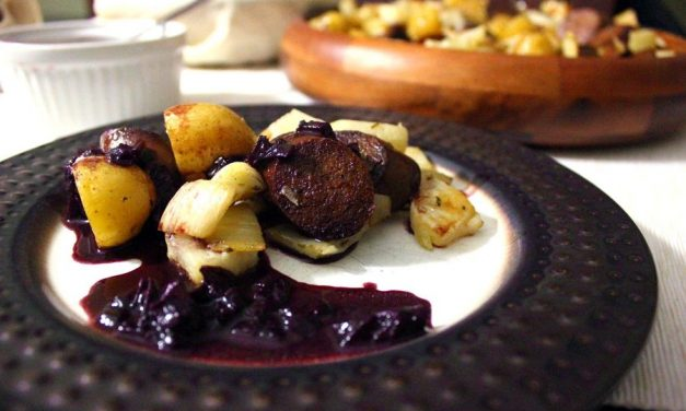 [Witchy Kitchen] SUSPIRIA-inspired Snow White Roasted Vegetables and Sausage with Red Wine Reduction