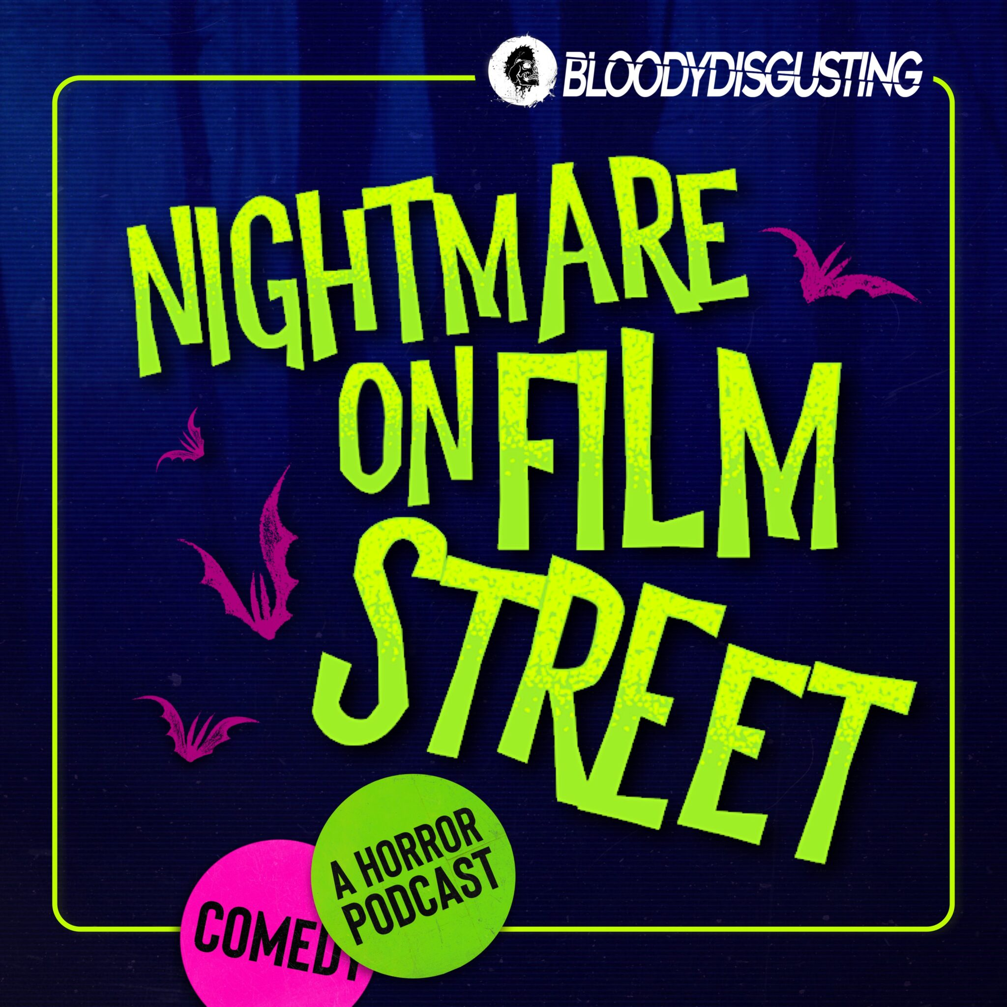 nightmare on film street horror movie podcast logo bloody disgusting