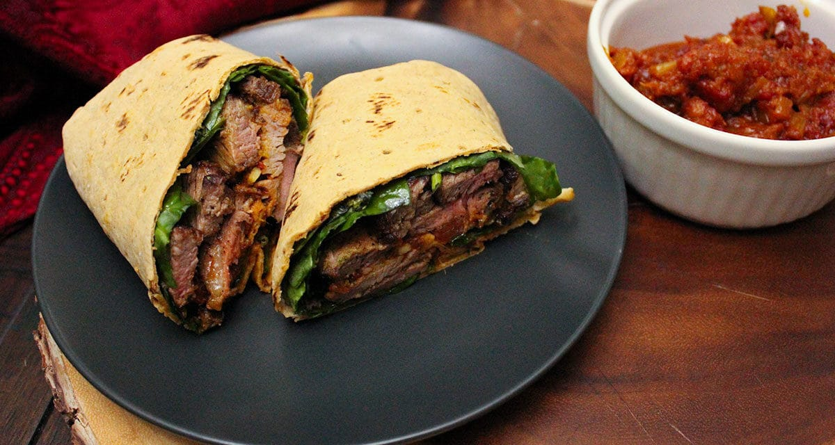 [Witchy Kitchen] Ginger Steak Wraps with Ginger Tomato Chutney, inspired by GINGER SNAPS