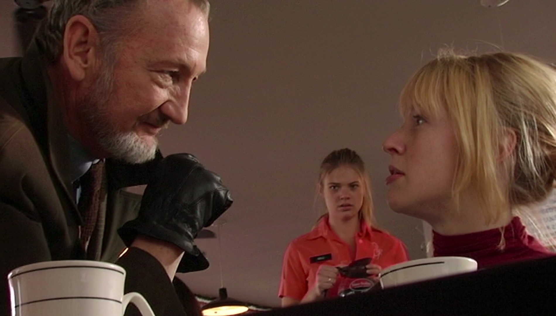 """Robert Englund's """"Ahab"""" character confronting Angela Goethals' Taylor"""